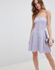 Read more about Asos design bandeau button through skater mini dress - grey