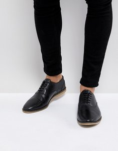 Read more about Asos casual lace up shoes in black leather with perforation detail - black
