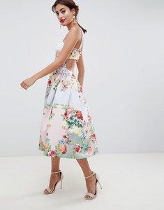 Read more about Asos design square neck floral scuba prom dress - multi