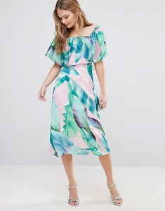 Read more about Every cloud palm print bardot midi dress - pink green palm prin