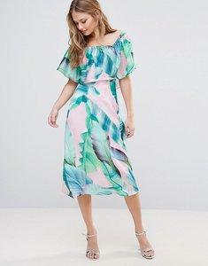 Read more about Every cloud palm print bardot midi dress - pink green palm prin
