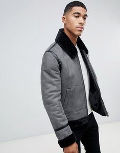 Read more about Asos design faux shearling jacket in grey - grey