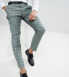 Read more about Heart dagger slim suit trouser in summer wedding check - mint