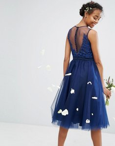 Read more about Chi chi london embroidered tulle midi dress with button back - navy