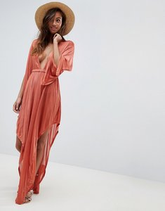 Read more about Asos design slinky glam long sleeve plunge beach dress - rust