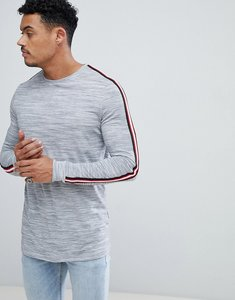 Read more about Asos longline long sleeve t-shirt with sleeve taping in grey interest fabric - grey