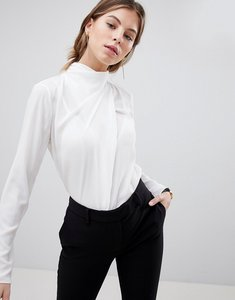 Read more about Asos design top with ruched high neck in white - ivory