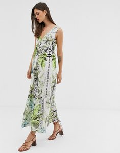 Read more about Asos design maxi dress with pephem in tropical print