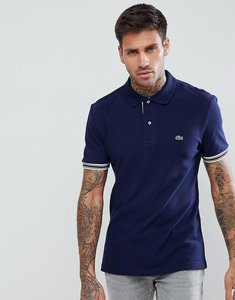 Read more about Lacoste tipped logo polo in navy - 166