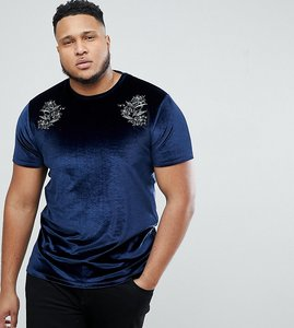 Read more about Asos plus t-shirt with floral embroidery in velour - navy