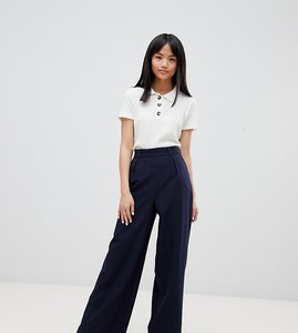 Read more about Asos design petite the wide leg trouser with pleat detail - navy