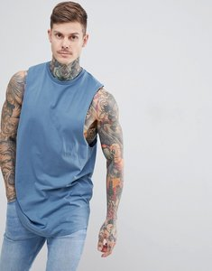 Read more about Asos design super longline vest with dropped armhole and curve hem in blue - hush grey
