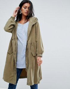 Read more about To be adored irmena parka with i don t believe embroidered back - olive