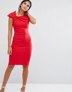 Read more about City goddess pencil midi dress with shoulder bow detail - red