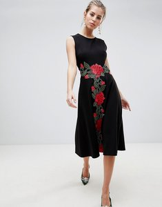 Read more about Traffic people shift midi dress with rose embroidery - black