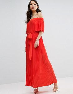 Read more about Asos pleated off shoulder maxi dress - orange