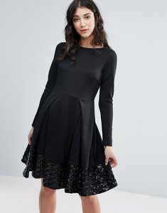 Read more about Traffic people long sleeve skater dress with pleat detail - black