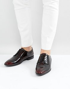 Read more about Asos lace up derby shoes in burgundy leather - burgundy