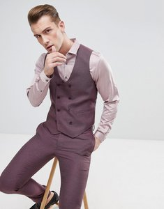 Read more about Asos wedding skinny suit waistcoat in damson micro texture - purple