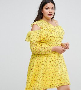 Read more about Asos curve cold shoulder ruffle tea dress in dobby ditsy print - multi