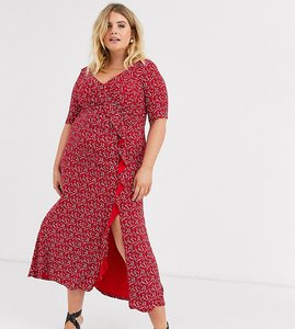 Read more about Asos design curve long sleeve wrap maxi dress in ditsy print
