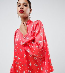 Read more about Asos design satin blouse with high neck and open back in floral print - multi