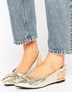 Read more about New look metallic bow slingback shoe - gold