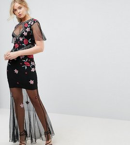 Read more about Frock and frill tall allover premium embroidered fishtail maxi dress with mesh skirt - black