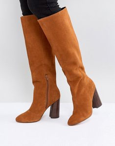 Read more about Asos cabrinie suede pull on knee boots - tan suede