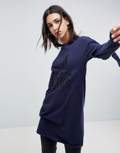 Read more about Noisy may long sweater with buckle sleeves - navy