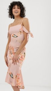 Read more about Hope ivy fitted printed dress with tie sleeve detail - nude base bird