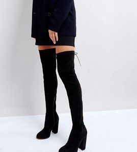 Read more about Asos kingship heeled over the knee boots - black