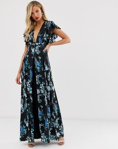 Read more about Asos design maxi dress with godet lace inserts in black based floral print