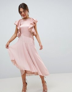 Read more about Asos design pleated midi dress with ruffle sleeve - pink