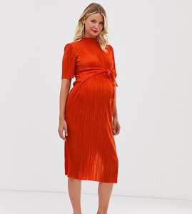 Read more about Asos design maternity knot front plisse midi dress