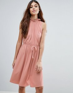 Read more about Club l high neck dress with gathered waist - dusky pink