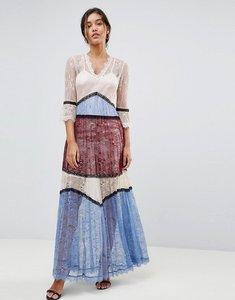 Read more about Morgan premium panelled contrast lace maxi dress - multi