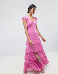 Read more about Asos design tiered ruffle maxi dress - pink