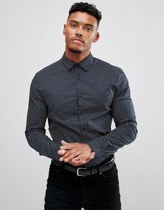 Read more about Asos design smart stretch slim ditsy print shirt - navy