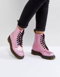 Read more about Dr martens leather holographic pink lace up boots - pink metallic