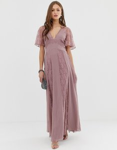Read more about Asos design maxi dress with flutter sleeve and all over lace insert