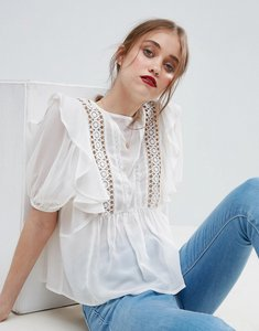 Read more about Asos ruffle blouse with eyelet detail and lace insert - cream