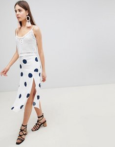 Read more about Nobody s child midi skirt with front splits in polka dot - white black