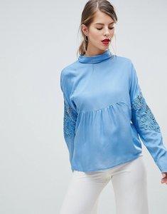 Read more about Vila lace panel high neck blouse - blue