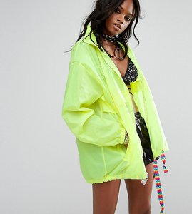 Read more about Reclaimed vintage inspired festival neon rain mac jacket with concealed hood - yellow