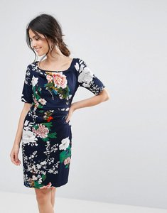 Read more about Uttam boutique floral print dress with gathered front - navy
