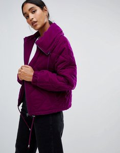 Read more about Asos design velvet quilted bomber - purple