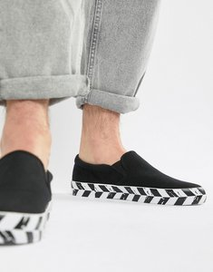 Read more about Asos design slip on plimsolls in black canvas with diagonal checkerboard sole - black