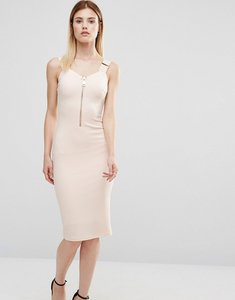 Read more about Ax paris zip front pencil dress - peach