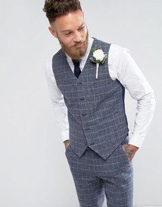 Read more about Asos wedding skinny suit waistcoat blue wool mix grid check - blue